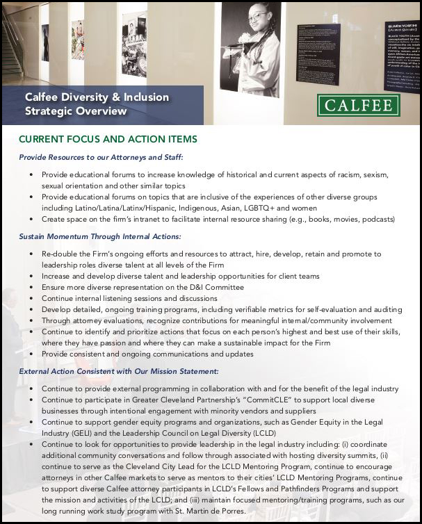 Calfee's Diversity & Inclusion Strategic Overview